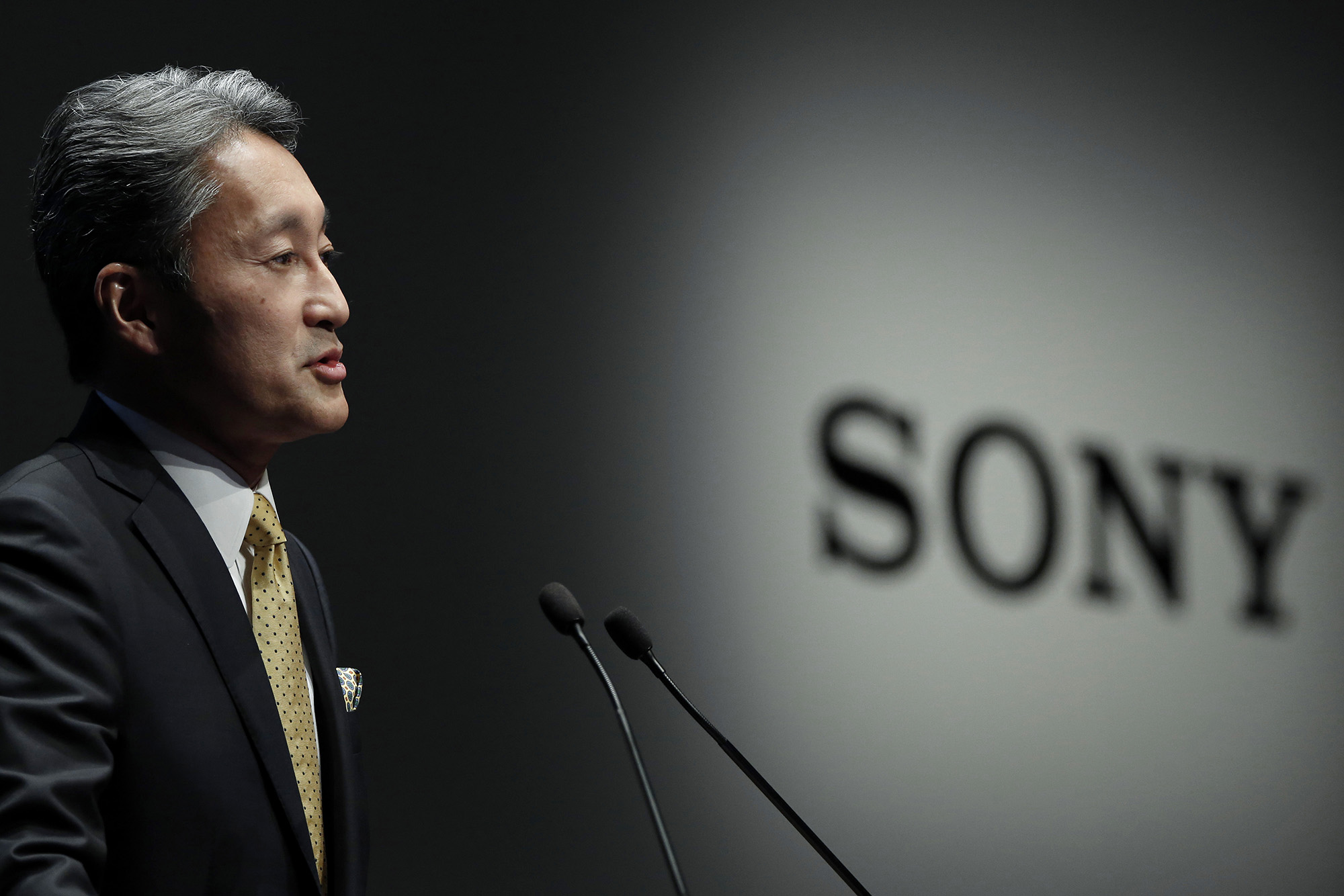 Kazuo Hirai, president and chief executive officer of Sony Corp., speaks during a news conference in Tokyo, Japan, on Wednesday, Feb. 18, 2015. Sony forecast a surge in operating earnings by fiscal 2017 as Hirai drives the company's turnaround with games, image sensors and entertainment. Photographer: Kiyoshi Ota/Bloomberg *** Local Caption *** Kazuo Hirai